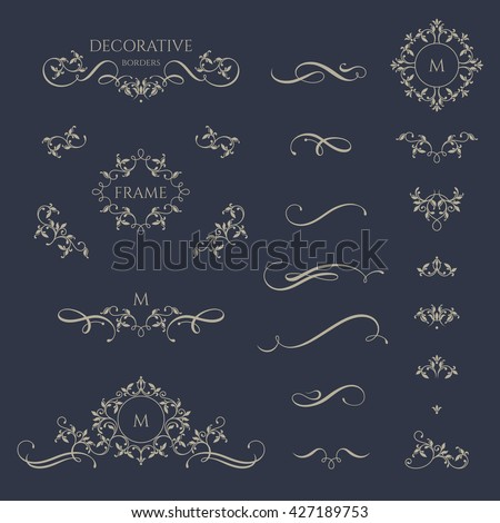 Floral borders and monogram with calligraphic elements. Template signage, logos, labels, stickers, cards. Graphic design page. Classic design elements for wedding invitations.