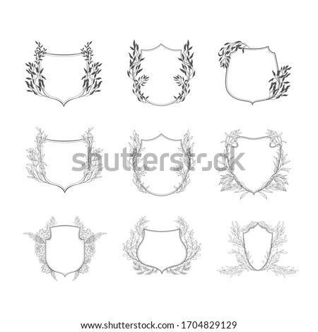 Floral botanical frame and monogram. Vintage border.Vector set of crests. Foto d'archivio ©