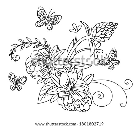floral botanical hand drawn