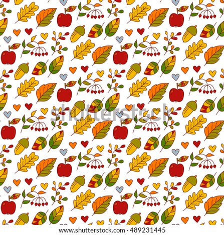 Floral botanical leafs berries and acorn hand drawn seamless vector pattern