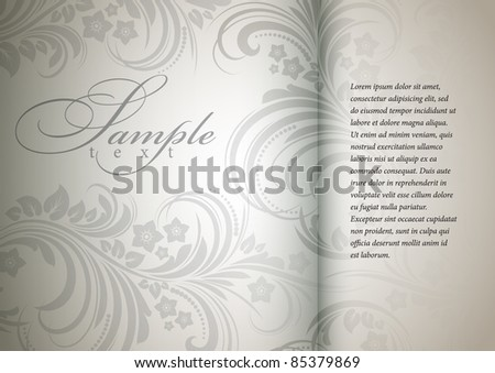 floral bright background in a silver color