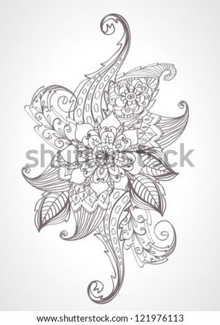 Floral bright doodle illustration for your design, vector