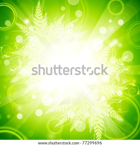 Floral bright green energy explosion background, copyspace