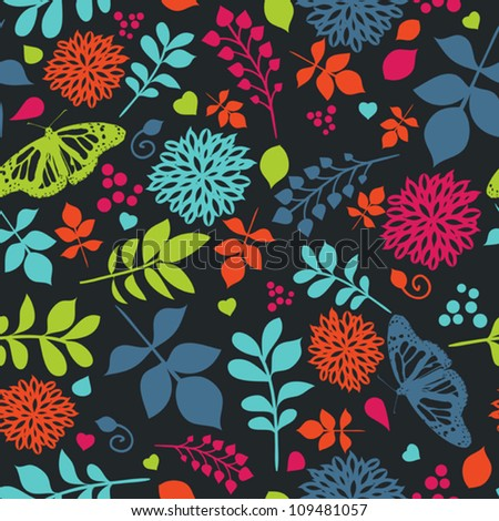 Floral bright seamless pattern with flowers and butterfly