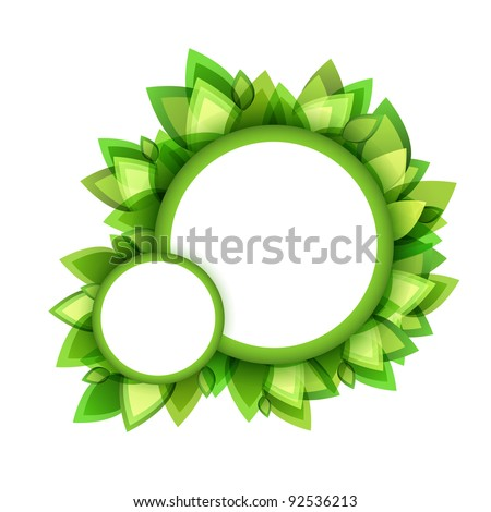 Floral bubble speech of green leaves. Part of bubble set. Vector art.