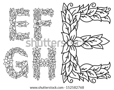 Capital e in Calligraphy Floral Capital Letters e f