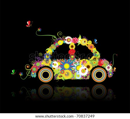 Floral car shape on black for your design - stock vector