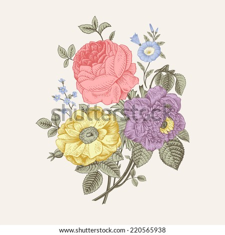 Floral card Bouquet of roses dog-rose and anemone Vintage vector illustration Classic Pastel color