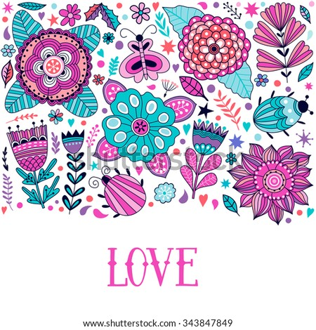 floral card design  flowers and