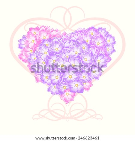 Floral card. Illustration of heart made of flowers hydrangeas. Vector. Victorian style. Congratulations to the St. Valentine\'s Day or wedding invitation.