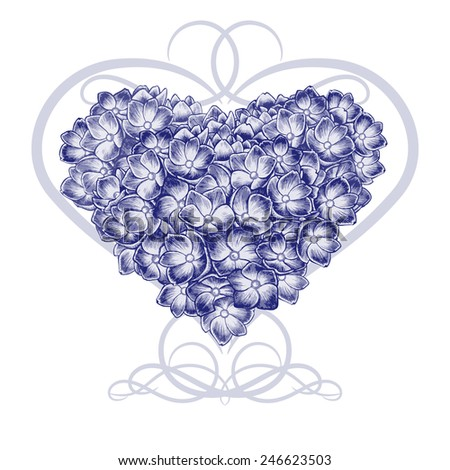 Floral card. Illustration of heart made of flowers hydrangeas. Vector. Victorian style. Black and white. Congratulations to the St. Valentine\'s Day or wedding invitation.