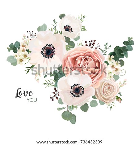 Floral card vector Design: garden flower lavender pink peach Rose white Anemone wax green Eucalyptus thyme leaves elegant greenery, berry, forest bouquet print.Wedding rustic Invitation elegant invite #736432309