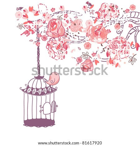 floral card with a bird on the cage