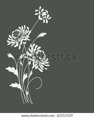 Floral card with  chrysanthemums