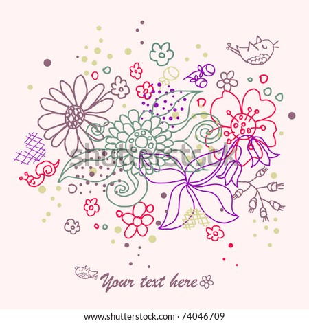 Floral card with flowers and little snail