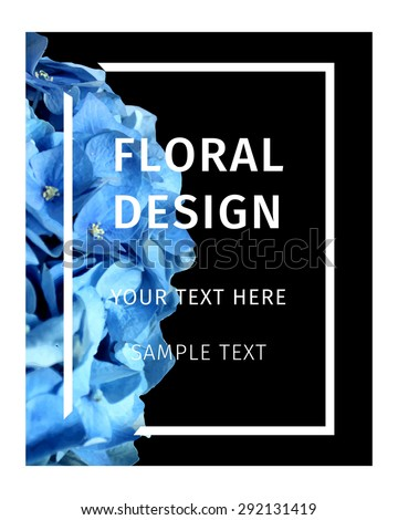 Floral Card with Flowers Hydrangea . Frame for Boutique. Summer Elements for Poster, Flyer, Invitation, Placard, Book Cover Design. Spring vector  Illustration background
