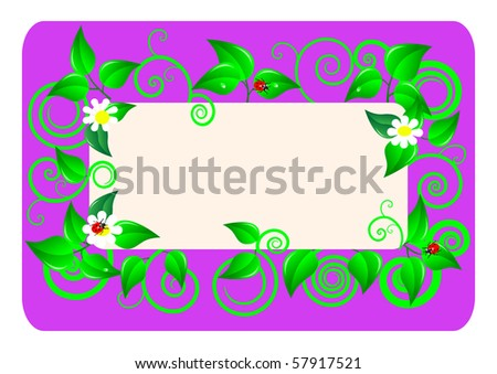 Floral card with  leafs, chamomiles and  ladybugs. Vector illustration.