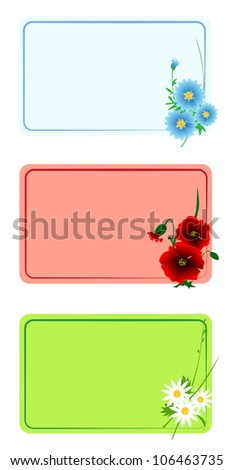 Floral cards set with space for text, border design