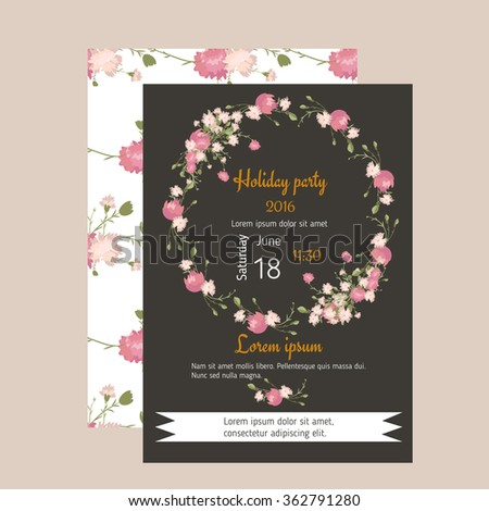 Floral carnation retro vintage background, vector illustration