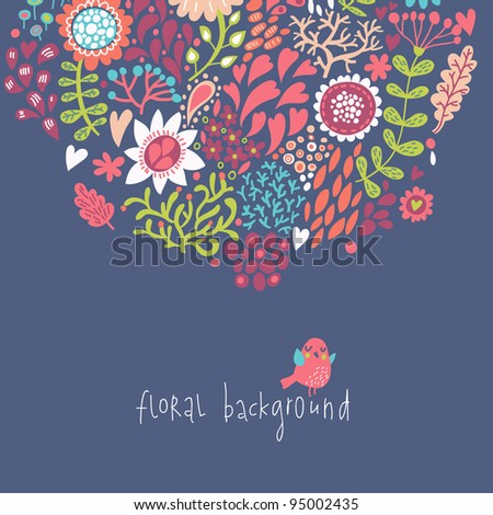 Floral cartoon background - stock vector
