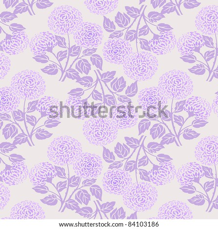 floral chrysanthemum pattern in violet and purple colors