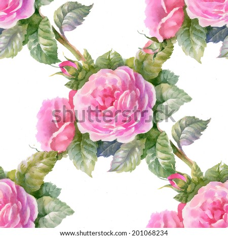 Floral colorful flowers pattern on white background vector #201068234
