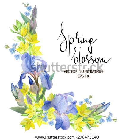 floral corner with iris flowers