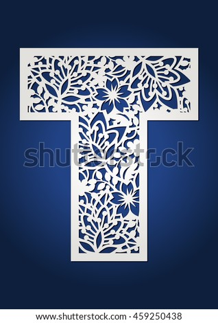 floral cutout monogram initial