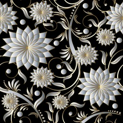 Floral damask vector seamless pattern background wallpaper with vintage decorative volumetric 3d white flowers leaves and ornaments.Flourish elegant endless texture.Modern flowery decor.