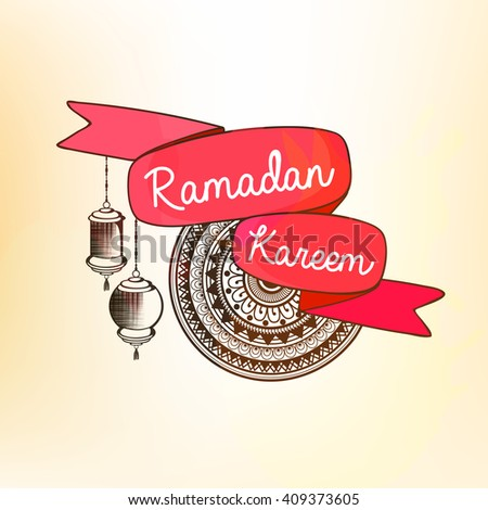 Floral decorated pink color ribbon design with hanging lamps and title of Muslim's Community Festival Ramadan Kareem.  #409373605