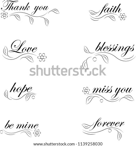 Floral Decorated Words, Words Vector
