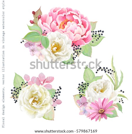 Floral decorations with flowers pink Peony, white Rose, colorful inflorescence Hydrangea, green leaves and berry branches. Vector illustration in vintage watercolor style.
