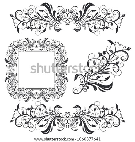 Floral decorative frame and ornaments. Wedding invitation decoration. Vector illustration isolated on white background