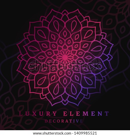 Floral Decorative Ornaments or Mandala Design Vector template, carpet, sacred, holy, islamic, spiritualism energy, spa, relaxation or beauty ornament design, glowing in the dark elemental, abstract