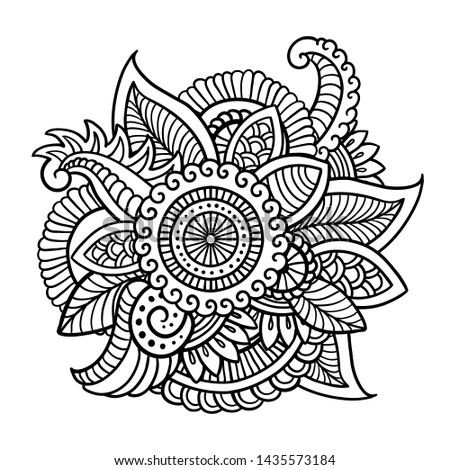 Floral decorative pattern. Doodle vector background with flowers, leaves. Indian ornament. Colorful oriental design in mendi style. Vector abstract illustration. Stock photo ©