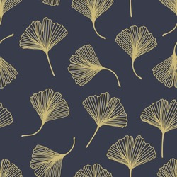 Floral decorative seamless pattern with golden ginkgo biloba leaves on grey background. Can be used for wallpaper, pattern fills, textile, web page, surface, textures. Vector Eps 10