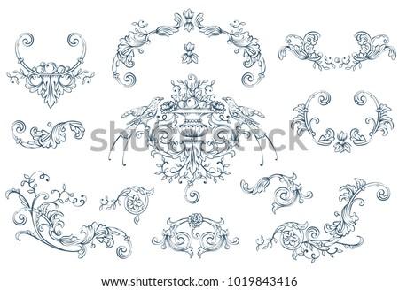 Floral decorative vector elements set, rococo and baroque style