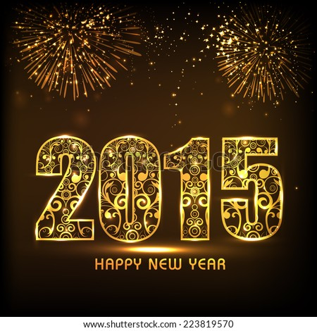 Floral design decorated golden text 2015 on fireworks decorated brown background for Happy New Year 2015 celebrations.  #223819570