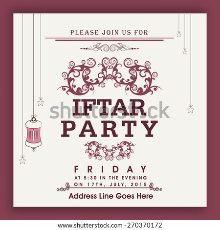 Beautiful iftar party invitation vector | free download.
