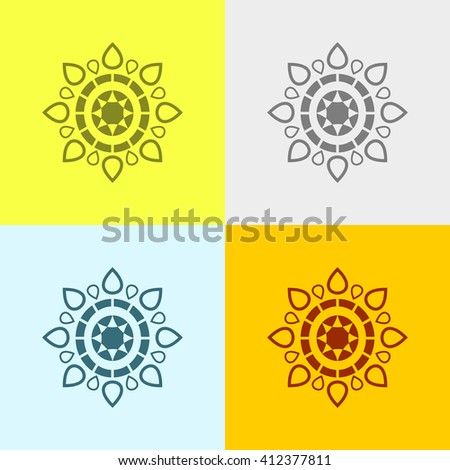 Floral Design Element Icon on Four Different Backgrounds. Eps-10.