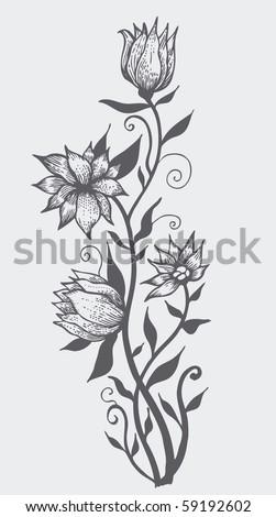 floral design element. sketch style. vector illustration