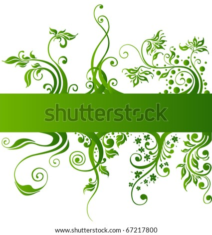 Floral design elements, green vector plants