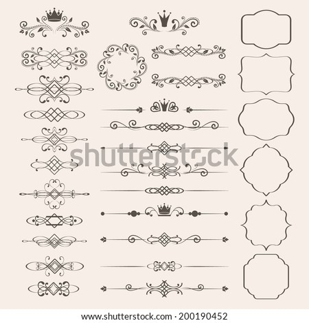 Shutterstock Floral design elements set, ornamental vintage frames with crowns in brown color. Page decoration. Vector illustration. Isolated on beige background. Can use for birthday card, wedding invitations.