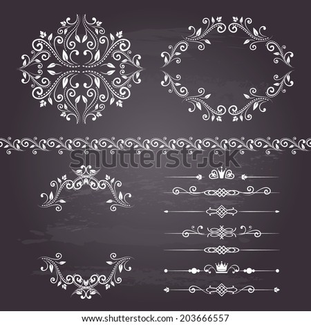 Floral design elements set, vintage border, frames and dividers in white color. Page decoration. Vector illustration. Isolated on chalkboard background. Can use for birthday card, wedding invitations.