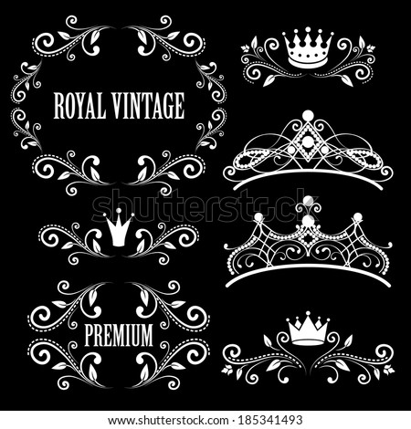 Floral design elements vintage royalty frames with crowns ornamental style diadems in white color Vector illustration Isolated on black background