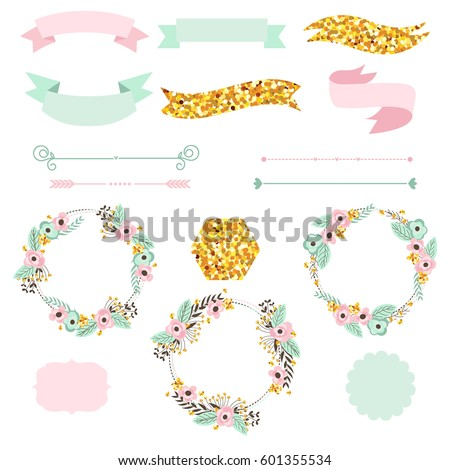 floral design elements with