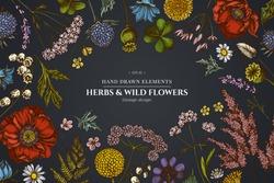 Floral design on dark background with shepherd's purse, heather, fern, wild garlic, clover, globethistle, gentiana, astilbe, craspedia, lagurus, black caraway, chamomile, dandelion, poppy flower, lily