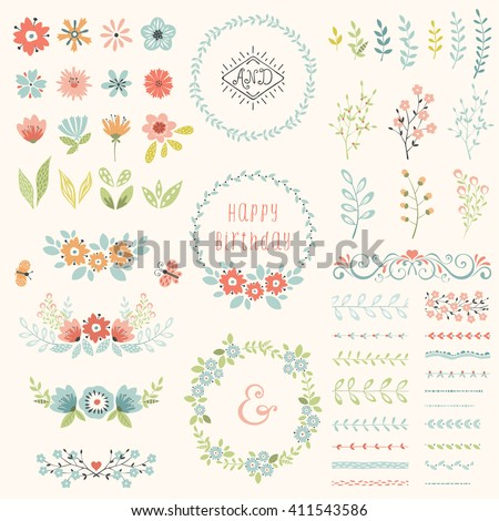 Floral design set. Vector collection with spring and summer elements, flowers, wreaths, branches, frames, butterflies, pattern brushes. Good for  birthday cards, wedding invitations and scrapbook. #411543586