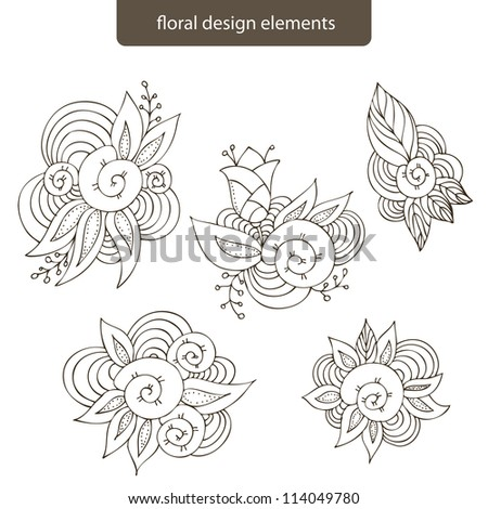 Floral design vector elements isolated on a white background