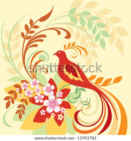 Floral design with birds